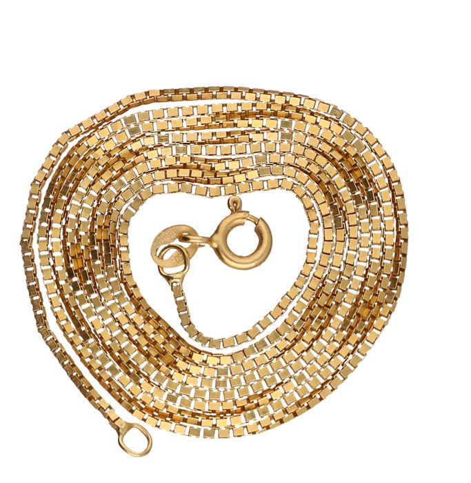 14 kt Yellow gold Venetian link necklace – 62 cm