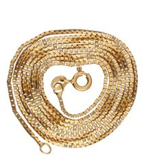 14 kt yellow gold Venetian link necklace, Length; 62 cm
