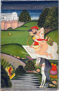 Kamasutra, original illustrated and hand-painted page – India – 18th century