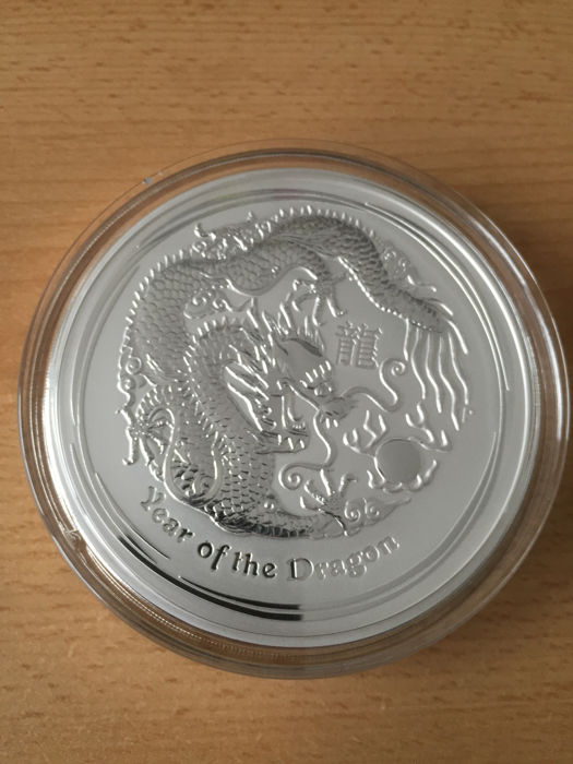 Australia - $30 - 1 kg/ 1000 gram Lunar II year of the dragon 999 silver coin
