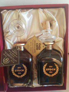2 Bottles of Brandy Stock 84 40%Vol. 0,7L in Special Edition Package 100th Anniversary 1884-1984