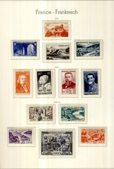 France 1945-1949 – 6 complete years with Air Mail and Duties – Yvert #669 to 862, Air Mail 16 to 29,  Duty 78-89