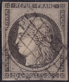 France 1849 – 20 centimes Cérès grey black no. 3c (Yvert) - signed Calvès and identified by Jacquart