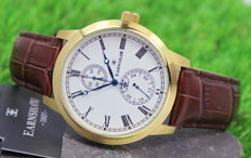 Thomas Earnshaw Mens Gold Plated Brown Leather Strap Watch - Unworn