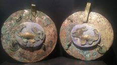 Ceremonial Moche Ear Ornaments with Jaguars - 8,50 x 8,00 cm.