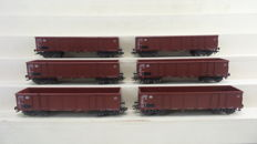 Märklin H0 - 4690 - Six Eanos open four-axle freight carriages of the DB
