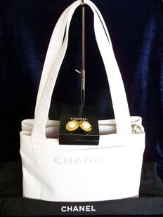 Lot of 2: Chanel large shopping bag and Chanel faux-pearl earclips  - *No Reserve Price*