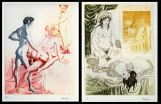 Graphic art; Lot of 2 engravings by Celedonio Perellón - 1978
