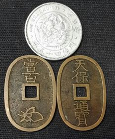 Japan - lot of 3 coins - 1835/1912 - Yen, Meiji Year45 + 100 Mon (Tempo Tsuho) - silver