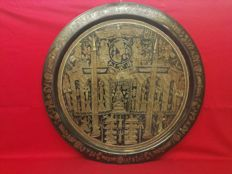 Impressive copper tray with ancient Egyptian decorative motifs - Egypt - 20th century