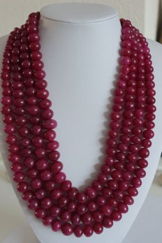 Necklace with natural Rubies on an adjustable, silk strand - 1625 ct