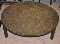 Manufacturer unknown - brutalist coffee table with slate top