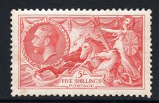 Great Britain King George V 1934 - 5/- Bright Rose Red Re-Engraved Seahorse, Stanley Gibbons 451