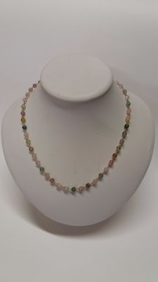 Multi-coloured tourmaline necklace – 18 kt yellow gold