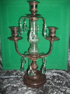 Large heavy 3 branch candlestick with 12 glass/crystal icicles and partly glass/crystal base - Height 42 cm - Weight 2 kg.