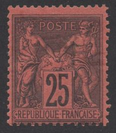 France 1878 – Sage 25 c. black on red stamp – signed, includes Calves certificate – Yvert No. 91
