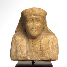 Egyptian Limestone Trial Piece Head of a King, NK, 9 cm High without stand