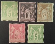 France 1898-1900 – Sage, types I and II, selection of 5 stamps including 1 signed Brun- Yvert # 102-106
