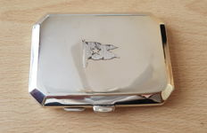Sterling Silver cigarette case  hallmarked Birmingham 1920. Engraved with the flag of the White Star Line shipping company