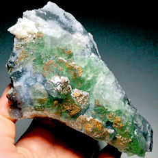 2 Jade Green Translucent Stepped Botryoidal Fluorite, Fluorescent Calcite and Pyrite, 128x80x50/123x74x40mm - 421/329gm
