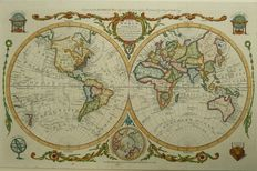 World; Emanuel Bowen - The world including the late Discoveries by Capt. Cook (...) - 1747