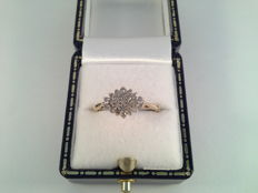 Elegant, vintage ring, yellow gold with diamond, 0.25 ct, ring size 16.5/52.