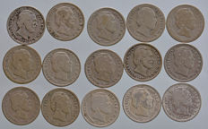 The Netherlands – 10 cents 1871/1890, Willem III (15 different ones) – silver