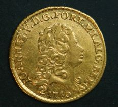 "Portugal – ½ Escudo in GOLD – 1740 – Minor Bust (""Busto Menor"") – D. João V – Lisbon – Third Rarest Date - Almost New"
