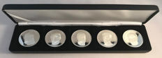 """Belgium - Various medals """"Belgian Kings Collection"""" (5 different ones) in set - Silver"""