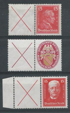 German Reich 1926/1927 - Selection of combinations - Michel W23, W24.1, W25