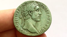 Roman Empire - Antoninus Pius (138-161 AD). AE Sestertius. Rome. Indulgentia, with natural green patina. Bold portrait.