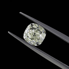 Natural Light Green Yellow 2.01 ct. vs2 Cushion shape Diamond, GIA certified