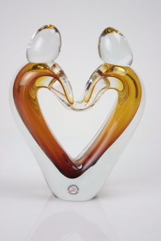 Ozzaro - Glass sculpture 'Lovers' Gold.