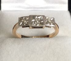 Platinum 9ct Rose Gold Diamond Trilogy Ring