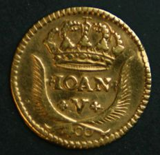 Portugal – Pinto in GOLD – 1730 – D. João V – 5 Arch Crown – Lisbon – UNC