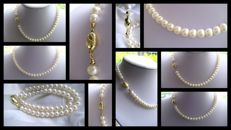 Pearl necklace, pearls approx. 08 cm, 585 gold clasp - no reserve