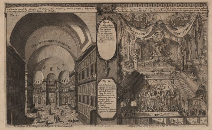 Romeyn de Hooghe (1645-1708)  - Voyages of discovery:  The mosque of Constantinopel and the Imperial Chinese Court - Published by Van der Aa - 1710