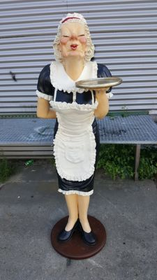 A very beautiful statue of an old waitress, height 180 cm