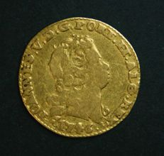 Portugal – ½ Escudo in GOLD – 1746 (Date corrected and dot in front of the date) – D. João V – Lisbon – Rare and Quite Above Average