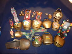 Collection of 14 original cowbells