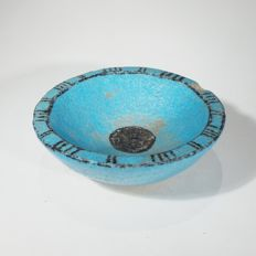 Egyptian bright blue faience bowl with black decoration. d 68 mm