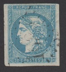 France 1870 – Issue from Bordeaux, 20 c. Blue type I report I, signed, and with Calves certificate  – Yvert n°44A