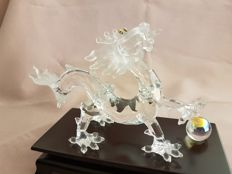 Swarovski - 'Crystal Zodiac' Dragon, with wooden base