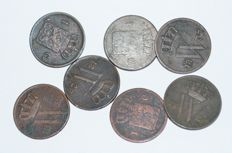 The Netherlands, 1 cent, 1826/1837, Willem I (7 different coins)