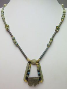 Egyptian faience beads necklace with decorated scarab and double Horus eye (Wedjat) amulet - 54 cm