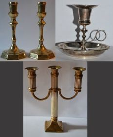 Lot of candle holders - Pair of gilded Louis XIV style candle holders ca 1950 - Room candle holder ca 1950 - 3 candles candelabrum ca 1930, France.