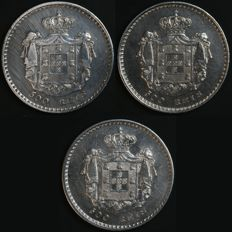 Portugal – 3 x 500 Réis coins in SILVER – 1846, 1847 and 1851 – D. Maria II – Lisbon – Rare and Valuable Lot