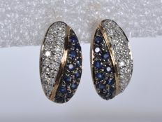 14 kt gold. Earrings. 0.51 ct sapphires. 0.31 ct diamonds. No reserve price.