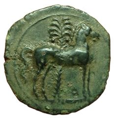 Greek Antiquity - Zeugitania Carthaginian - Æ Half-Unit (17mm; 3,74g.), ca. 400-350 BC - Uncertain mint - Head Tanit / Horse - SNG Cop 114