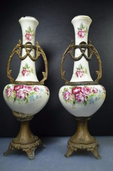 Two vases with bronze accents